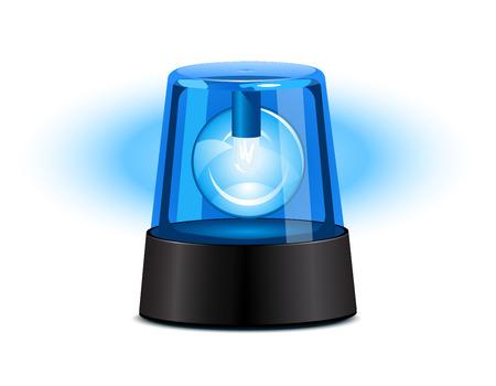 Blue flashing light over a white background Illustration