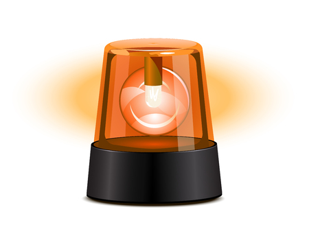 flashing: Orange flashing light over a white background Illustration