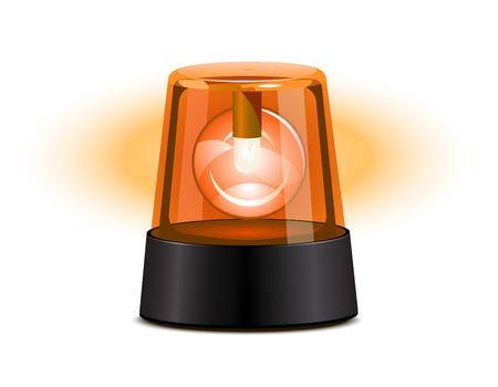 Oranje zwaailicht over een witte achtergrond