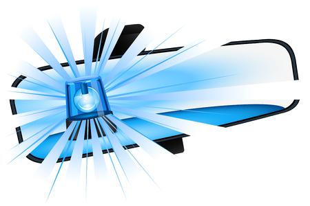 Blue flashing light in the rearview mirror Ilustração