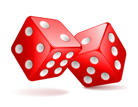 Vector illustration of red dices Illustration