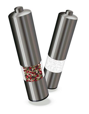 salt pepper: Salt & Pepper electric mills, vector illustration