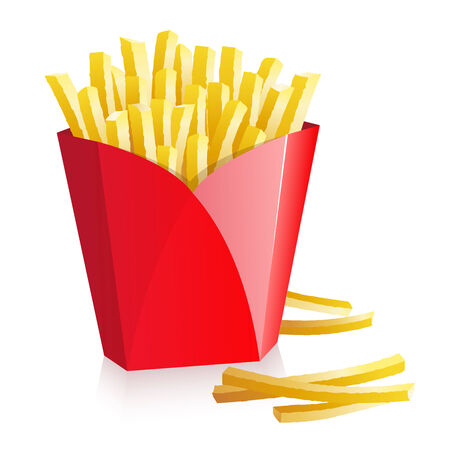 French fries in a red box Vector