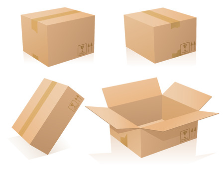 Cardboards boxes closed and opened Illustration