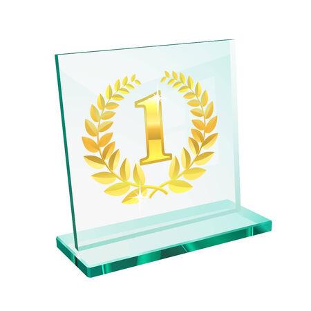 primer lugar: Trofeo de Oro para el primer lugar en un pedestal vidriosos Vectores