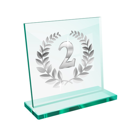 Silver trophy for second place on a glassy pedestal Vector
