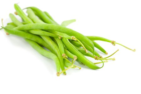 Green beans over white, swallow depth of field photo