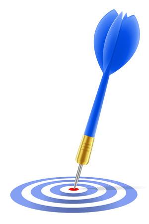 intention: Blue Dart atteindre la cible sur blanc Illustration