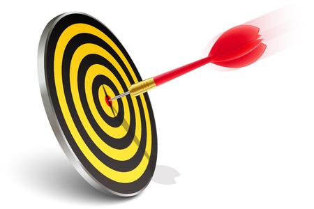 intentie: Rode pijl raakt de doelstelling op wit Stock Illustratie