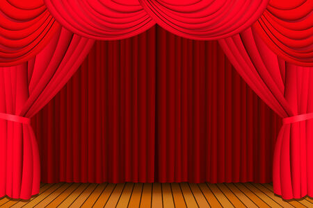 Stage with a closed red theatre curtain