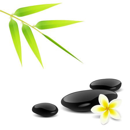 massage therapie: Zen thema met bamboe en zwarte stenen