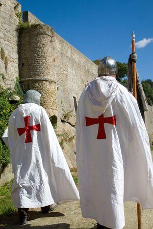 crusaders: Crusaders walking along the castle