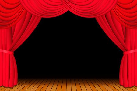 rideau sc�ne: Sc�ne avec Rideau de th��tre rouge ouvert