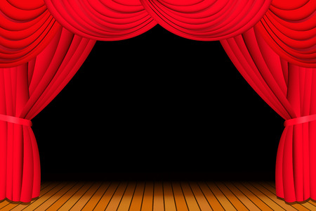 curtain: Stage with opened red theatre curtain