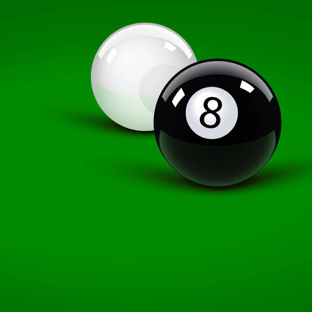 pool bola: Bolitas de piscina brillante en el terciopelo verde Vectores
