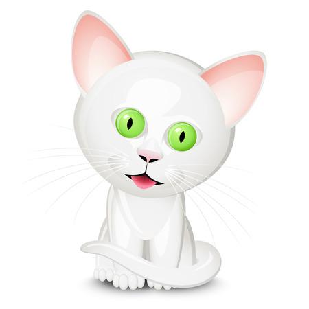 kittens: Little white cat Illustration