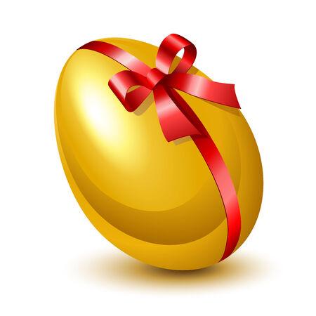 golden egg: Golden egg with red bow