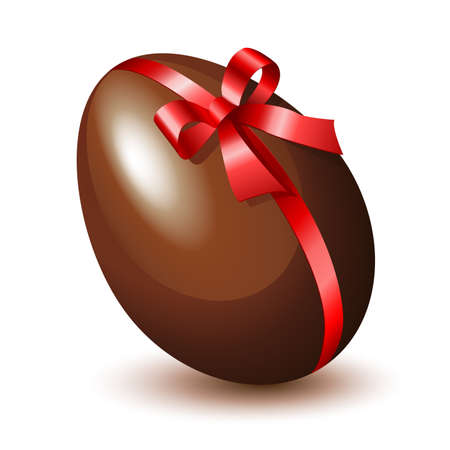 chocolate egg: Chocolate egg with a red bow
