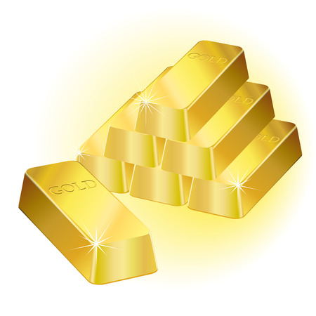 treasury: Shiny gold bars over a white background