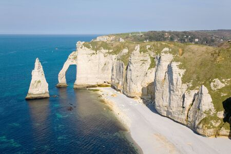 normandy: The famous cliffs at etretat in Normandy, France