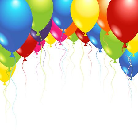 globos de cumplea�os: Globos volando hasta en el aire sobre blanco Vectores