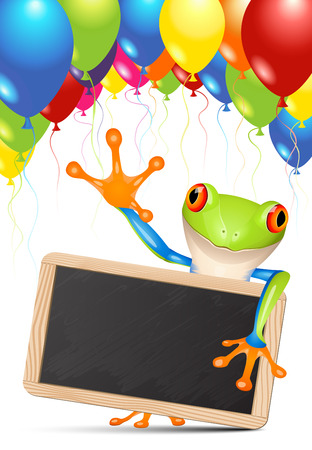 Little tree frog holding a blackboard under balloons Vector