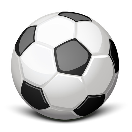 Shiny soccer ball over white Illustration