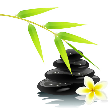 massage stones: Zen ambiance with bamboo and black stones Illustration
