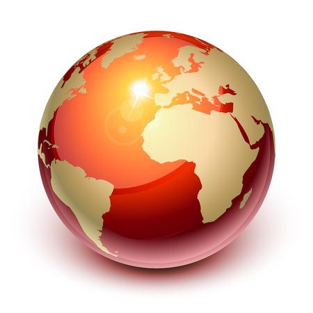 globo terraqueo: Tierra roja mostrando Europa y �frica