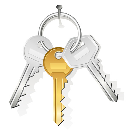 gold house: Bunch of three keys hanging on a nail