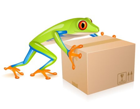 Little tree frog delivering a cardboard Stock Vector - 7340752