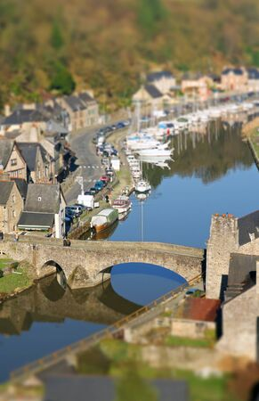 dinan: Post processed photo of le port de Dinan on the river La Rance, Brittany, France