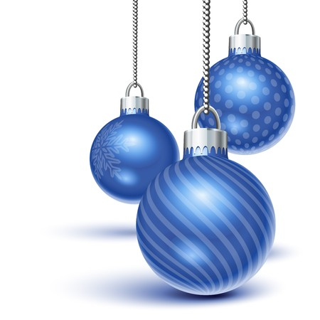 Blue christmas ornaments hanging over white Illustration