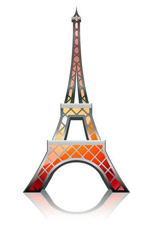 Eiffel tower designed in a glossy style Vector