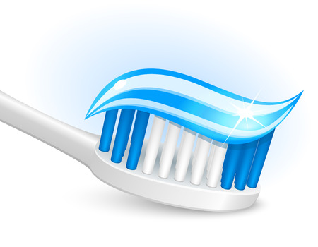 toothpaste: Toothbrush and gel toothpaste Illustration