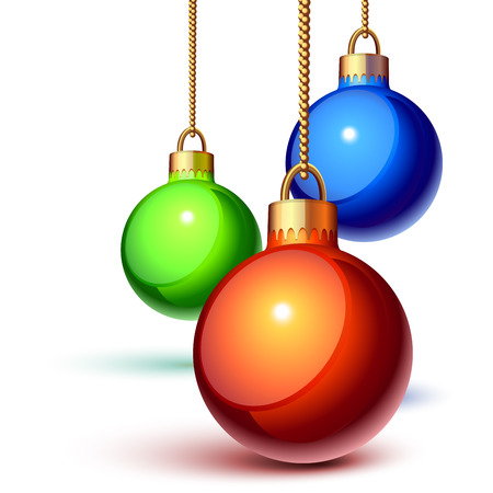 Christmas ornaments hanging over white Illustration