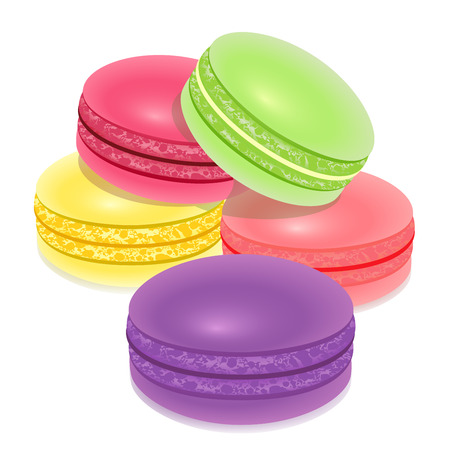 macaroon: Macarons, french sweet confectionery over white Illustration