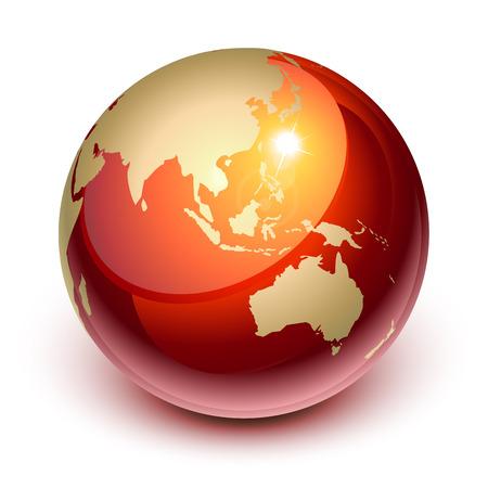 weltkugel asien: Rote Erde zeigen, Asien und Australien  Illustration