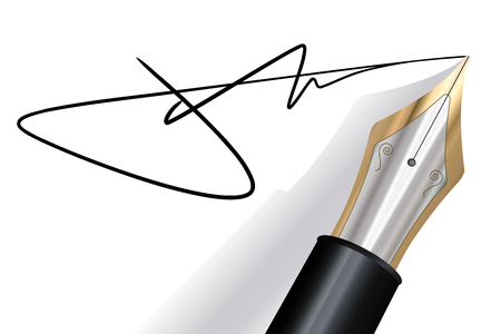 Signing with a fountain pen Illustration