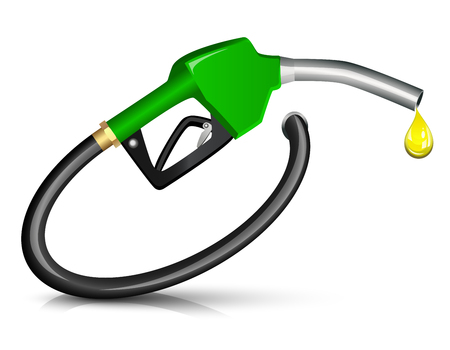 gas pump: Gasoline Fuel Nozzle giving a drop