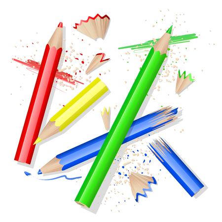 Crayons de couleur et des pelures de blanc