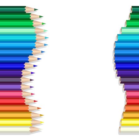 Crayons de couleur faisant une vague sur blanc