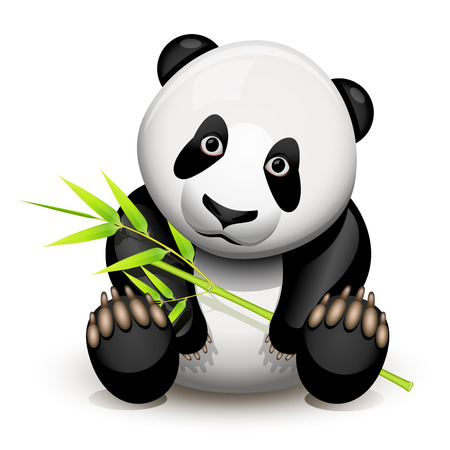 cute panda: Little panda and bamboo isolated on white Illustration