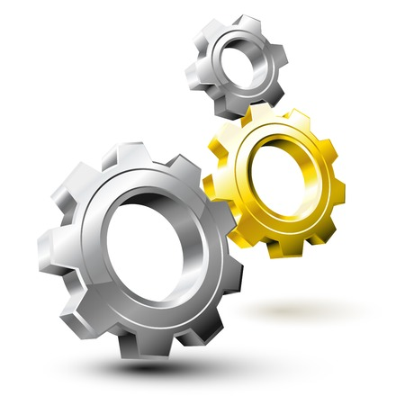 Système d'engrenage composé par l'argent et les roues dorées