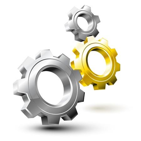 tandwielen: Systeem gecomponeerd door zilveren en gouden wielen versnelling Stock Illustratie