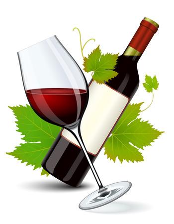 Botella de vino rojo y vidrio lleno en bodega  Ilustración de vector