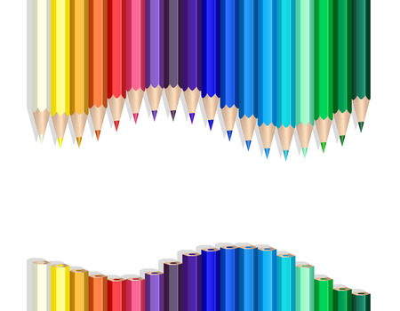 coloured pencil: Color pencils making a wave over white