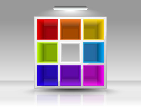 Leere farbig Regale in einem Raum Standard-Bild - 8214458