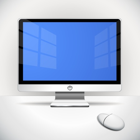 """""""flat screen"""": Flat screen and mouse on the desktop"""