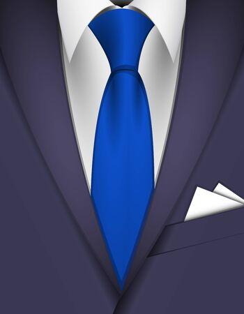 neck wear: Suit and blue tie
